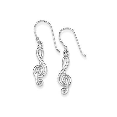 ポリッシュ Treble Clef Dangle Earrings in スターリング シルバー(海外取寄せ品)
