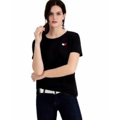トミー ヒルフィガー レディース シャツ トップス Heart-Logo T-Shirt Black