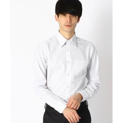 COMME CA ISM/コムサイズム 《イージーケア・抗菌防臭加工》 市松柄 レギュラーカラーシャツ ライトグレー L