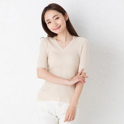 シルク100% ふわふわ加工 Vネック 5分袖 ニット 日本製 リブ編み レディース 縫い目のないホールガーメント M-L