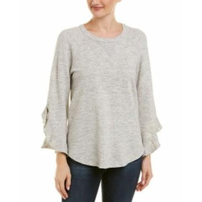 Ella Moss エラモス ファッション トップス Ella Moss Ruffle Sweatshirt L Grey