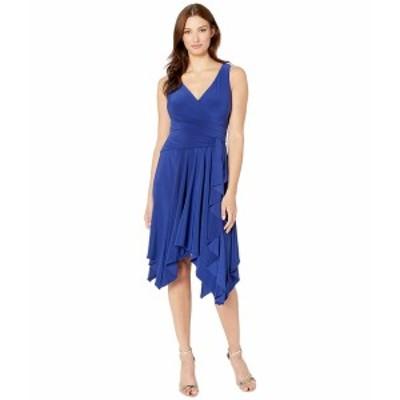 テイラー レディース ワンピース トップス Ruffle sleeveless High-Low Hem Dress Midnight Blue