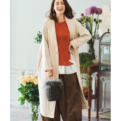 大きいサイズ 綿100%ゆったりドロップショルダーロング丈コート(オトナスマイル) ,スマイルランド, コート, plus size coat