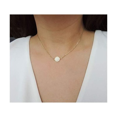 Diamond Pave Disc Circle Necklace - 10MM Sterling Silver, Gold or Rose Gold Vermeil Cubic Zirconia Circle Choker, Fine Quality CZ, Dainty Go