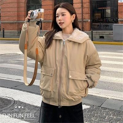 ジャケット レディース アウター コート ショート丈 長袖 中綿 フード付き無地 中綿フードジャケット