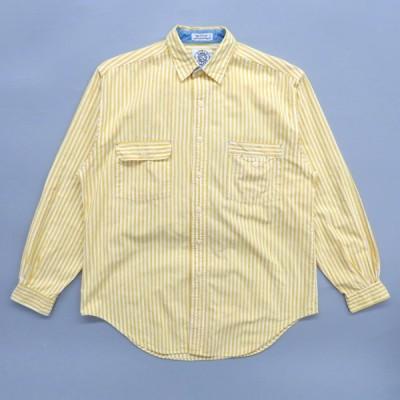 古着 ストライプシャツ 長袖 ガチャポケ イエロー ホワイト サイズ表記:M