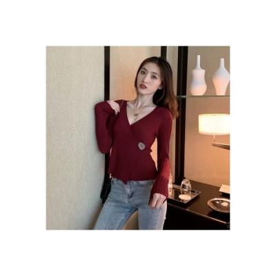 【送料無料】秋 韓国風 デザイン 感 不規則な 長袖セーター 女 着やせ 襟 短いス   364331_A63666-7418760
