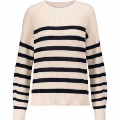ベルベット グラハムandスペンサー Velvet レディース ニット・セーター トップス Wren striped cotton sweater Ecru/Navy