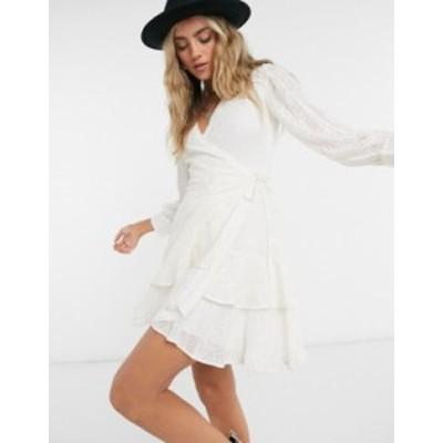 オールセインツ レディース ワンピース トップス AllSaints keva palmer embroidered wrap mini dress in white Chalk white