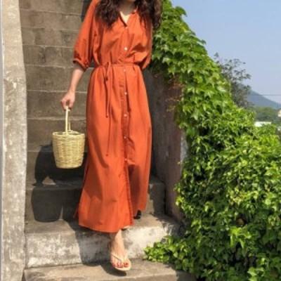 シャツワンピース ロング 大きいサイズ 韓国 ファッション Vネック ゆったり 五分袖 無地 ベーシック リゾート 大人可愛い カジュアル 春