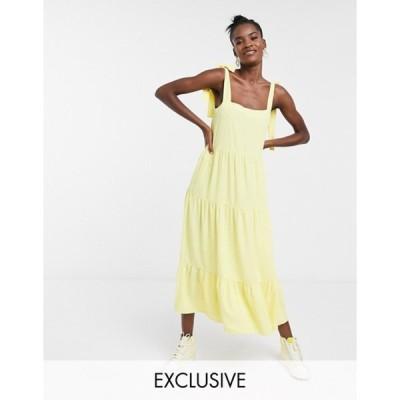 コルージョン レディース ワンピース トップス COLLUSION tired midi dress in yellow