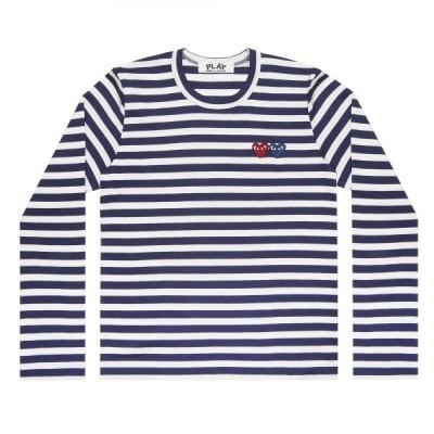 プレイ コム デ ギャルソン 長袖Tシャツ PLAY COMME des GARCONS ダブルハート ボーダー 紺×白