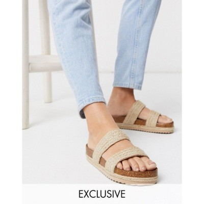 サウスビーチ レディース サンダル シューズ South Beach Exclusive raffia double strap slide sandals in natural Natural