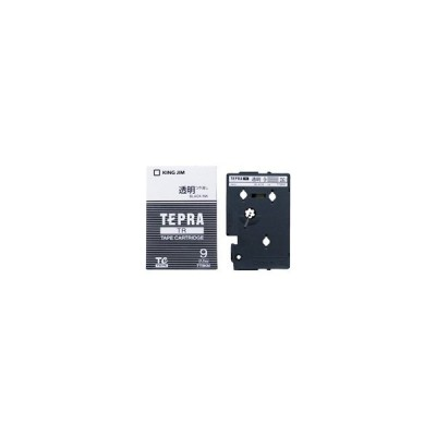 キングジム テプラTRテープ TT9KM 透明に黒文字 9mm