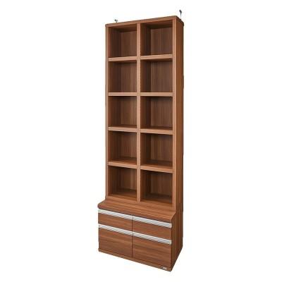 【完成品】重厚感のあるがっちり本棚シリーズ チェスト付き 幅75 天井対応高さ236〜246 奥行45cm ダークブラウン