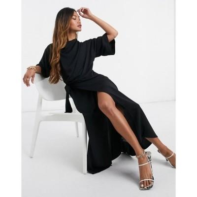エイソス レディース ワンピース トップス ASOS DESIGN cowl neck midi dress with wrap skirt in black