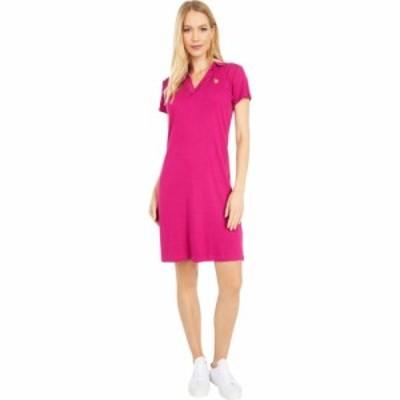 ユーエスポロアッスン U.S. POLO ASSN. レディース ワンピース Vネック ポロ ワンピース・ドレス Rib V-Neck Polo Dress Holly Berry