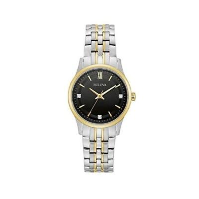 送料無料!Bulova 98P196 Women's Two Tone Stainless Steel Jubilee Band Black Dial Casual Dress Watch