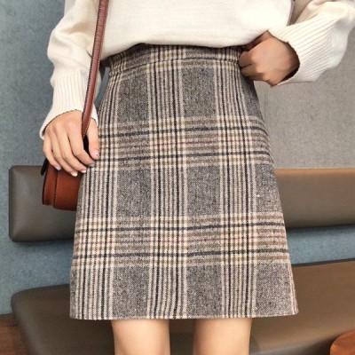 【即納あり】タイトスカート チェック柄 台形 レトロ  ボトムス ダンス 衣装 韓国 ヒップホップ レディース