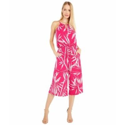 ロンドンタイムス レディース ジャンプスーツ トップス Graphic Bamboo Print Crop Jumpsuit Fuchsia