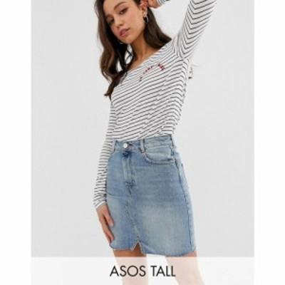 エイソス ASOS Tall レディース スカート デニム ASOS DESIGN Tall denim pelmet skirt in lightwash blue ブルー