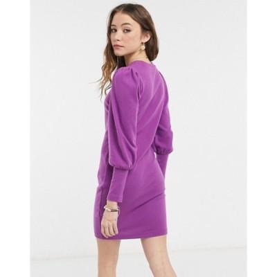 エイソス レディース ワンピース トップス ASOS DESIGN super soft puff sleeve mini dress in violet