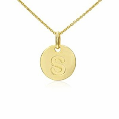"""STONIQUE CREATIONS 925 Yellow Gold Flashed Sterling Silver Round Disc Alphabet Letter S Initial Pendant Necklace Rolo Chain 18"""""""