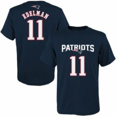 Outerstuff アウタースタッフ スポーツ用品  Julian Edelman New England Patriots Youth Navy Blue Primary Gear Name &