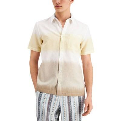 サンアンドプラスストーン シャツ トップス メンズ Men's Dean Linen Tie-Dye Short Sleeve Shirt, Created for Macy's Olive Combo