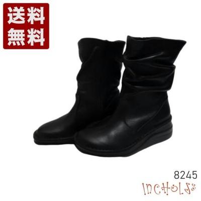 【インコルジェ 8245 ブラック】くしゅくしゅラクチンミドルブーツ
