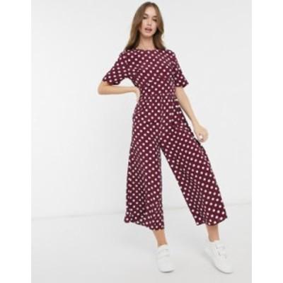 エイソス レディース ワンピース トップス ASOS DESIGN tea jumpsuit with button-back detail in burgundy and white dots Burgundy / w