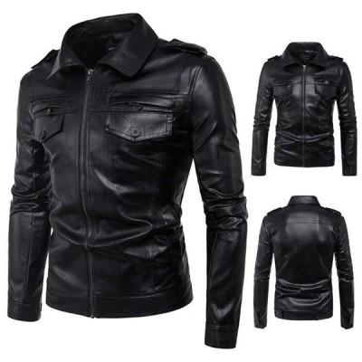 革ジャン メンズ レザージャケット ライダースジャケット 皮コート ステンカラー アウター バイクウェア 大きいサイズ バイカー 防風防寒