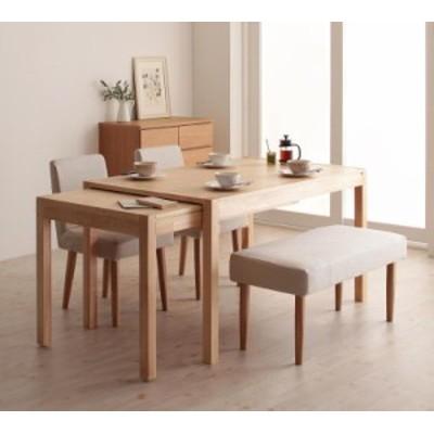 【Gride】4点セット(テーブル+チェア×2+ベンチ×1) 本体:BR チェアカバー:BR+ベンチカバー:BR