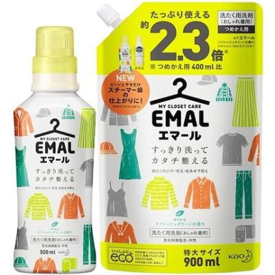 ABO まとめ買いエマール(EMAL)洗濯洗剤 液体 リフレッシュグリーンの香り 本体500ml+詰