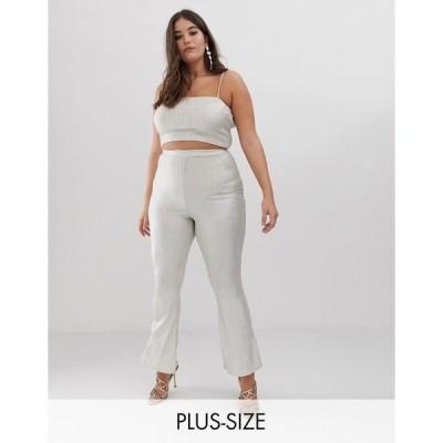 ファッションキラー プラス レディース カジュアルパンツ ボトムス Fashionkilla Plus flared pants two-piece in glitter Nude glitter