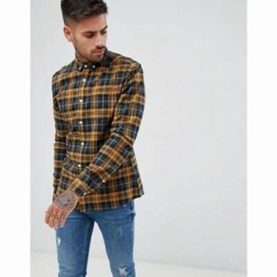 エイソス シャツ stretch slim check shirt in navy & mustard Yellow