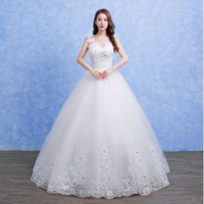 韓国 花嫁ウエディングドレス 二次会 ステージドレス 結婚式 入学式 ロングドレス 着痩せ パーティードレス 発表会 白 ホワイト 撮影
