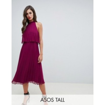 エイソス レディース ワンピース トップス ASOS DESIGN Tall halter tie neck midi dress in pleat Berry