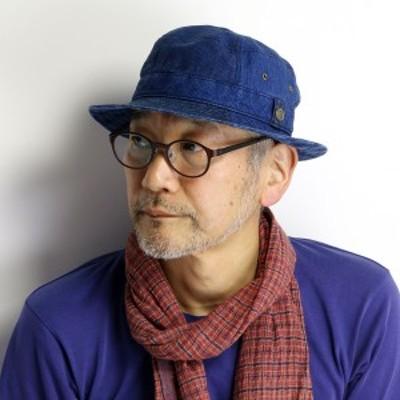 帽子 メンズ 先染め インディゴ KNOX サファリ ハット 春夏 日本製 チェック へリンボン ストラ