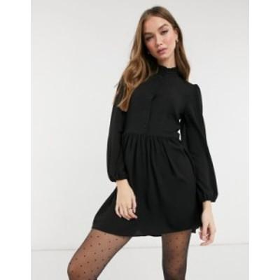 エイソス レディース ワンピース トップス ASOS DESIGN long sleeve button front mini smock dress in black Black