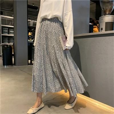 スカート レディース ゆったり 2020年夏新作 シック 薄手 花柄 ミドル丈スカート 4カラー フェミニンスタイルスカート 全4色展開 かわいいデザイン