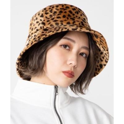 帽子 ハット WEGO/ダルメシアン柄ファーバケットハット