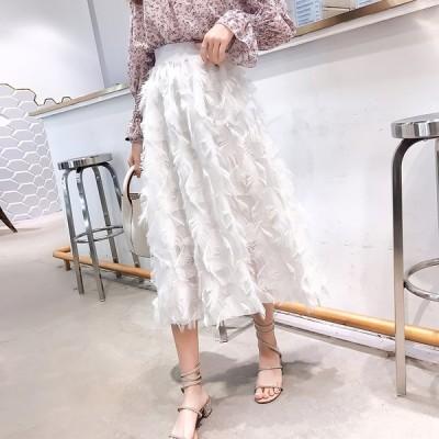 全2色 膝丈スカート ミディアム丈 ハイウエスト フリンジ シフォン 無地 韓国風 ファッション