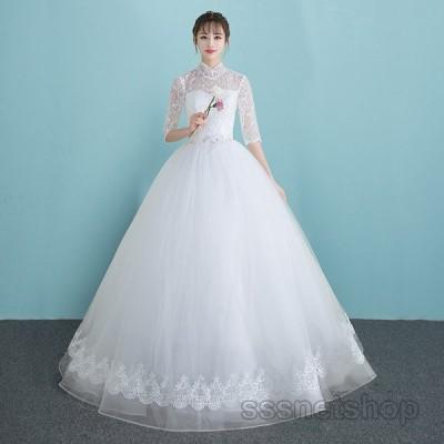 ウェディングドレス 結婚式 花嫁ドレス プリンセスドレス 袖あり ホワイト パーティードレス  披露宴 二次会 Aライン レトロドレス 2020新作【sssnetshop】
