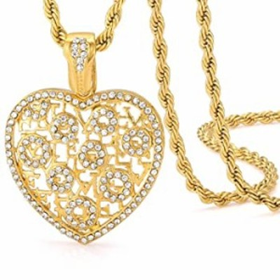 ROWIN&CO Gold Initial Pendant in Heart with a-z Different Letters of Alphabet, Diamond Cut Finish, Personalized Hip hop Necklace