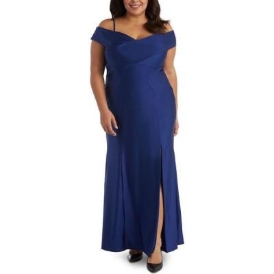 ナイトウェイ Nightway レディース パーティードレス オフショルダー 大きいサイズ ワンピース・ドレス Plus Size Sateen Cold-Shoulder Gown Twilight Blue