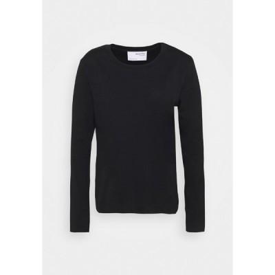 セレクテッドフェム カットソー レディース トップス SLFSTANDARD TEE - Long sleeved top - black