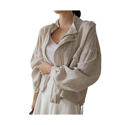 BEIBANGジャケット レディース ブルゾン ゆったり 綿麻 アウター 長袖 ジップアップ ジャンパー コート ショート?