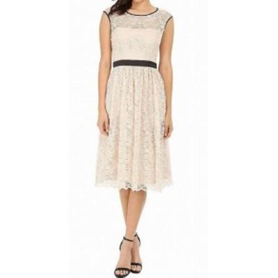 Jessica Simpson ジェシカシンプソン ファッション ドレス Jessica Simpson NEW Beige Black Womens Size 4 Lace Midi Shift Dress