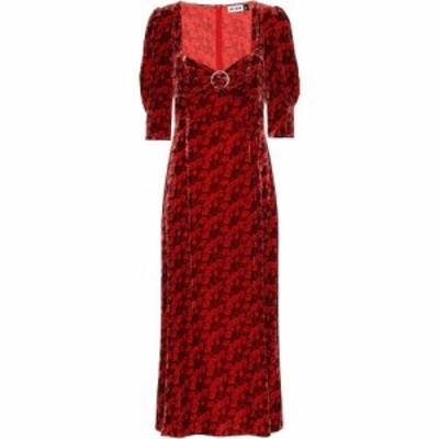 リキソ Rixo レディース ワンピース ミドル丈 ワンピース・ドレス Karen Floral Velvet Midi Dress Mystic Bloom Red